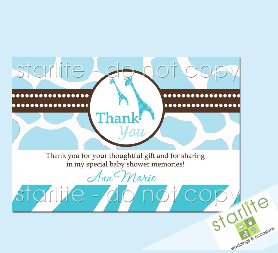 Wild Safari Blue Baby Shower Thank You Card Baby Boy By