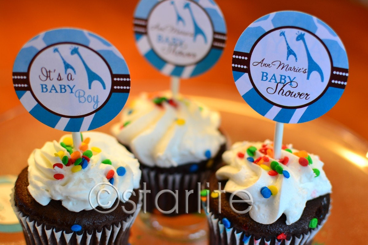 wild safari blue animal print baby shower cupcake toppers