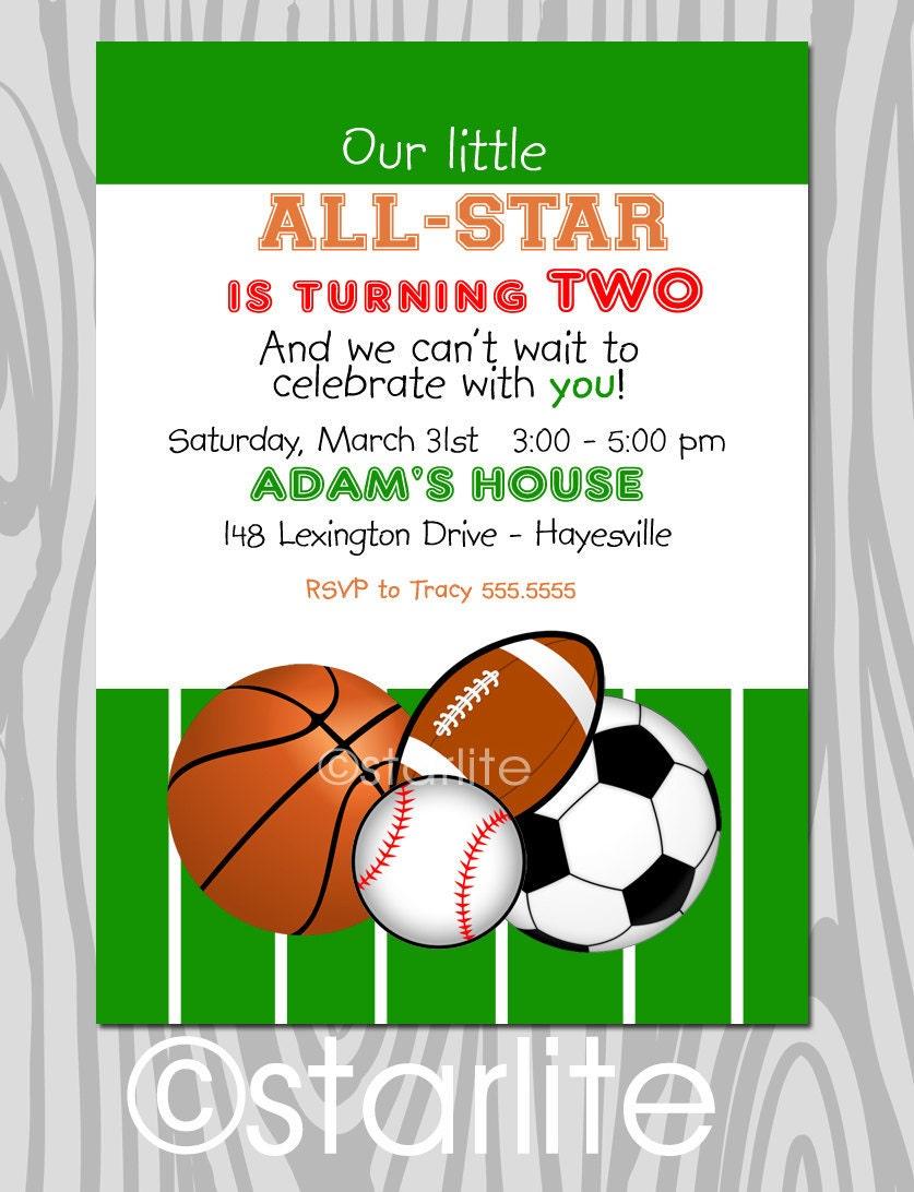 all star birthday party invitation sports themestarwedd