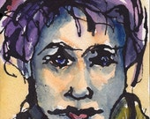 Art ORIGINAL Ink and Watercolor Drawing Portrait Woman Face