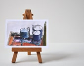 Art Painting Watercolor NYC Water Towers  -  Set of 6 Mini Prints