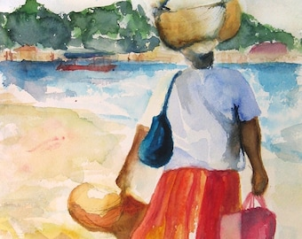 "Art Painting Watercolor Black Jamaican Woman w Fruit Basket - as seen in ""The Get Down"" on Netflix"