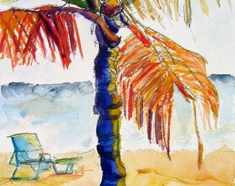 Art Painting Watercolor Tropical Palm Tree Beach Ocean Watercolor Print