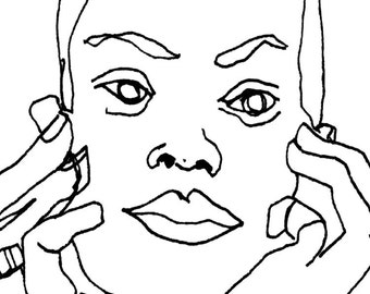Art  Pen and Ink Drawing PRINT Woman with Head in Hands