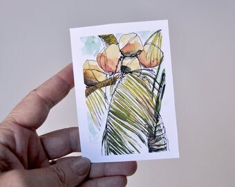 Art Painting Miniature Tropical Palm Tree Coconut Prints - Mini Prints Set of 12