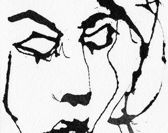 Art Pen and Ink  Sketch Drawing Portrait Sleeping Dreaming Woman Face Black and White Print