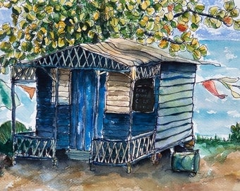 Art Painting Watercolor Jamaican Shabby Rustic Shop  PRINT