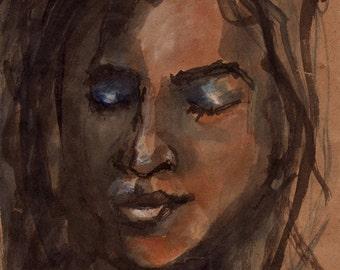 Meditating Woman Portrait Fine Art Watercolor PRINT