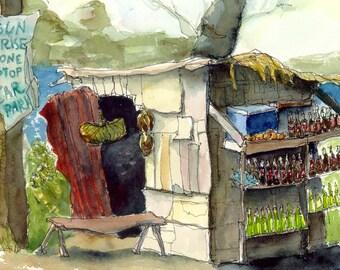 Art Painting Watercolor Tropical Shabby Rustic Roadside Rural Jamaican Shop PRINT