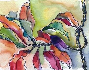 Art Painting Watercolor Tropical Landscape  Floral Leaves PRINT