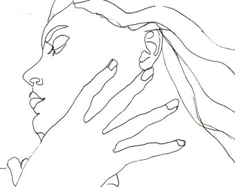 Art  Pen and Ink Drawing Woman Profile Black and White Hand at her Throat PRINT