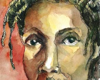 Art PRINT - Black Man Rasta Dreadlock Watercolor Painting