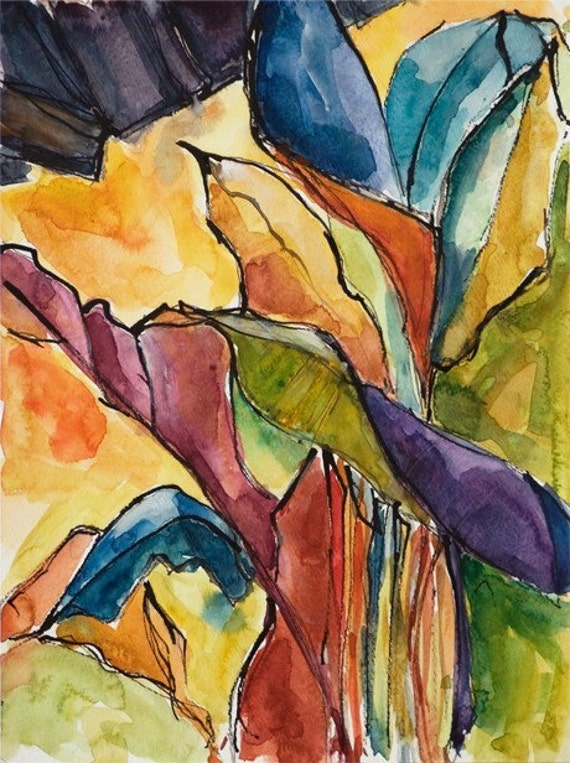 Art Painting Watercolor Tropical Banana Leaves Landscape Caribbean Print