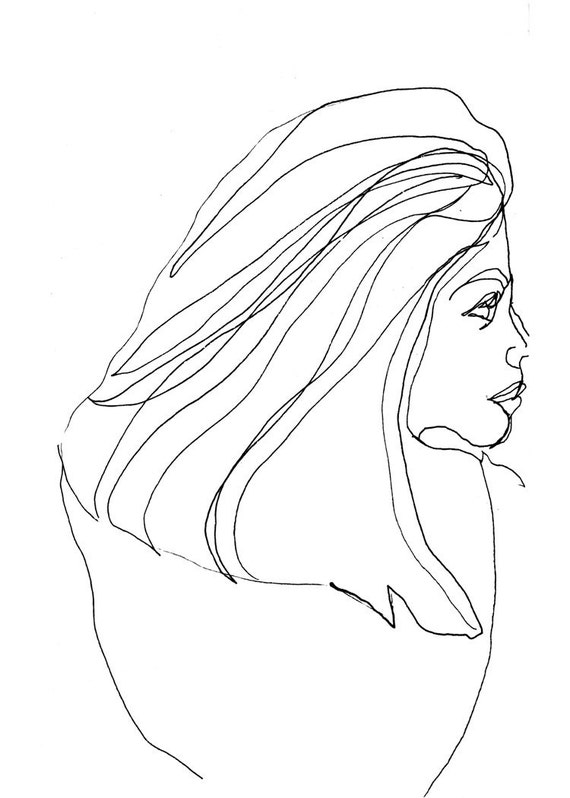 Art  Pen and Ink Drawing PRINT Nude Woman From Behind with Long Hair