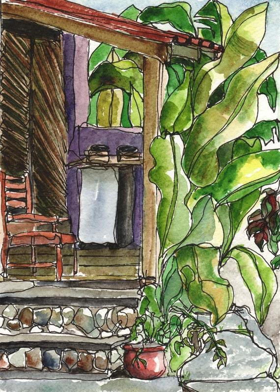 Art PRINT Tropical Cottage Porch Veranda Watercolor by vhmckenzie
