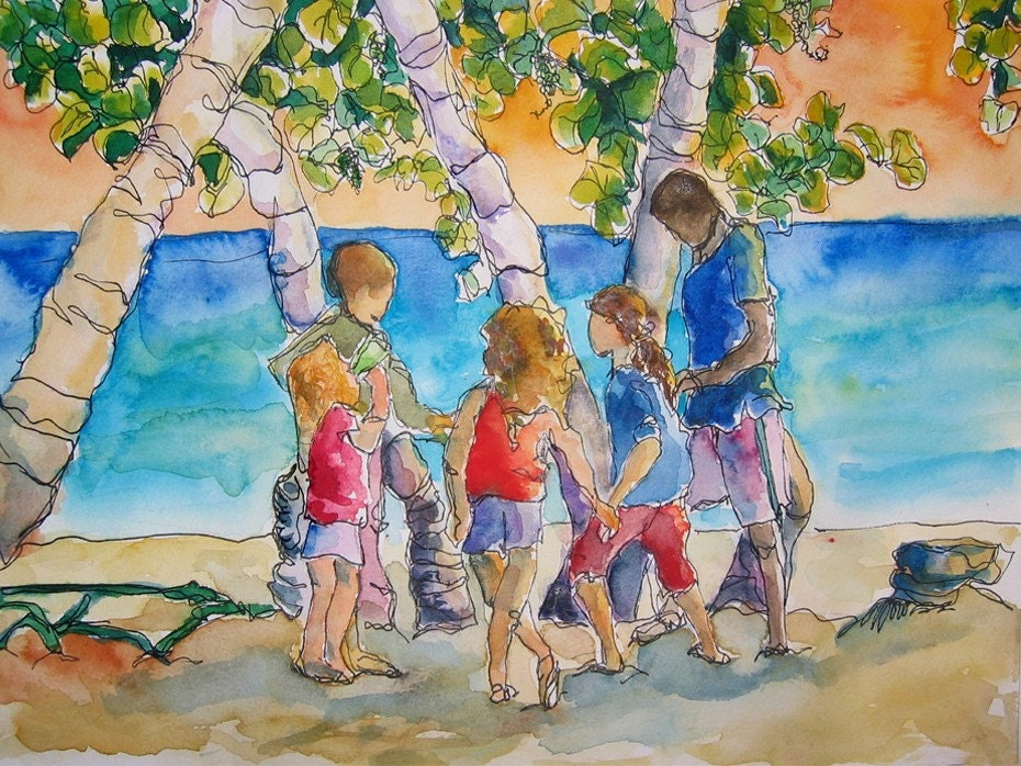 Art watercolor painting children playing tropical jamaican for Paintings of toddlers