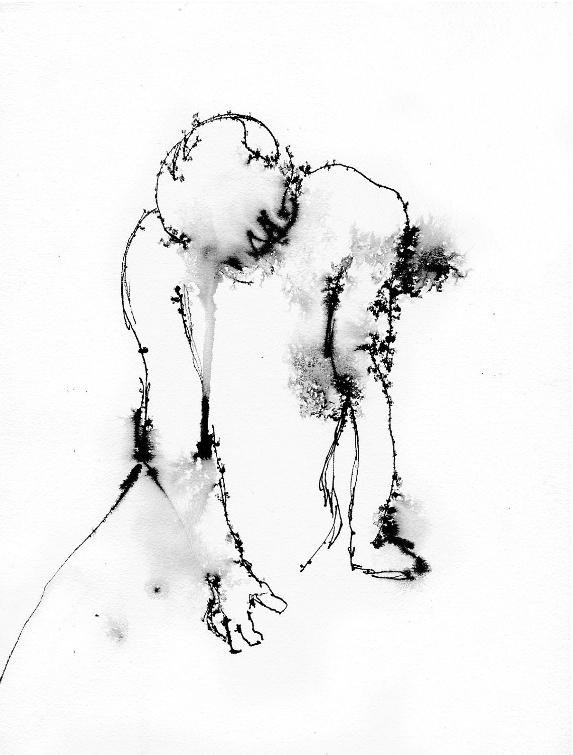 Art pen and ink drawing illustration figure despair print for Ink drawings easy
