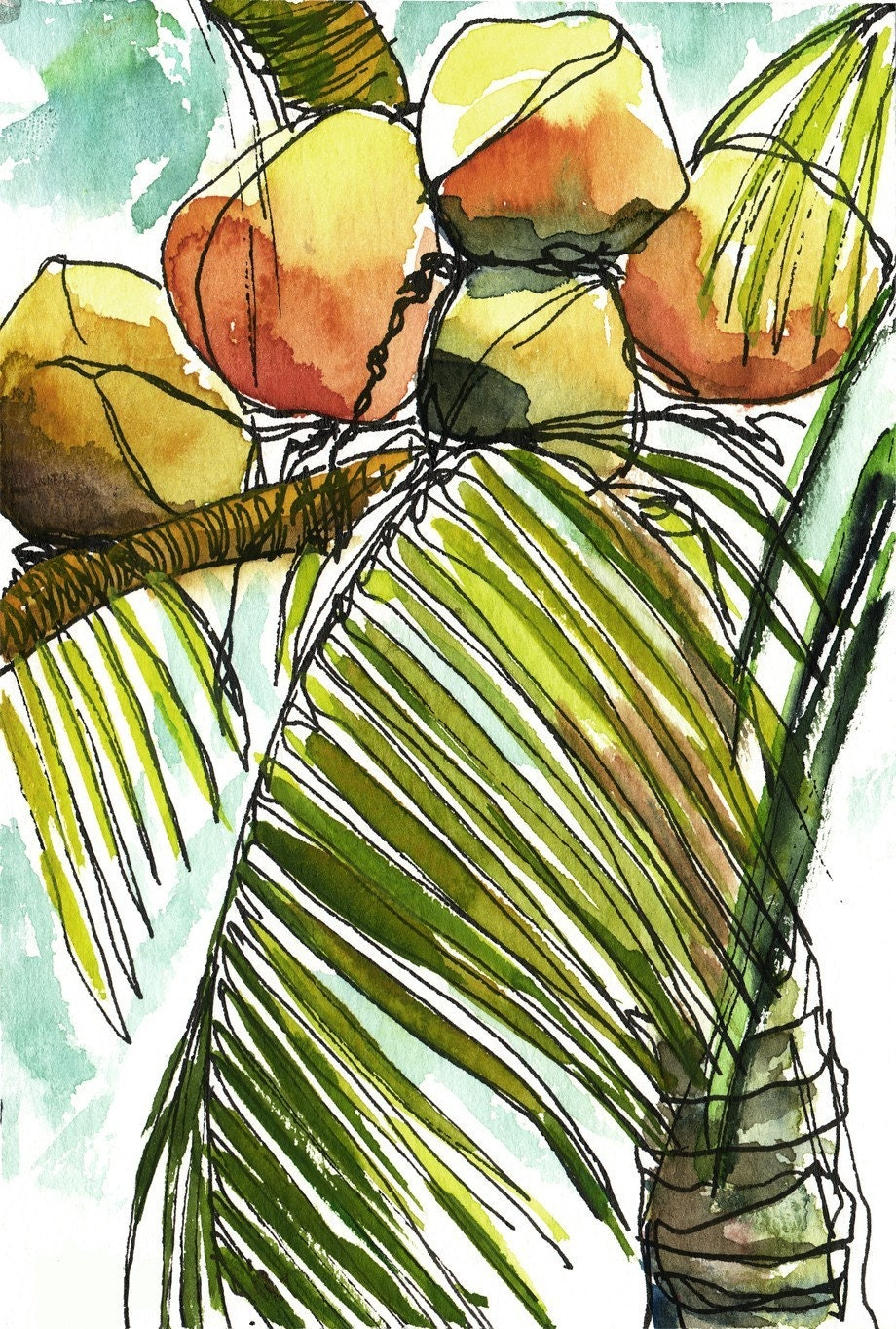 Art painting watercolor tropical coconuts palm tree print for Painting palm trees