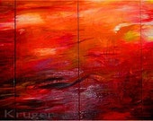 For Your Pleasure - Original Abstract Oil Painting 4 panels Gallery Wrapped Ready to Hang