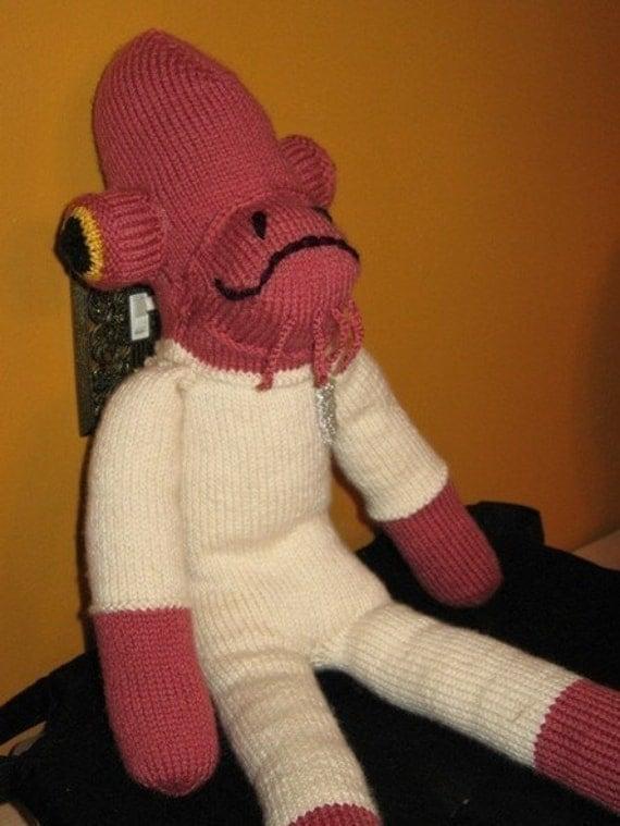 Star Wars Knitting Patterns Toys : Star wars admiral ackbar sock monkey stuffed toy knitting