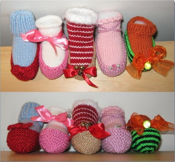 Knitting Pattern For Slippers Bootie : Baby Slipper Bootie Knitting Pattern PDF Ruby Slippers
