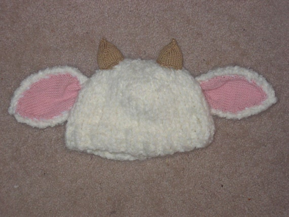Fiber Fest Fluffy Knitted Baby Sheep Lamb Hat sized for 1-2