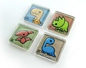 Dinosaurs Set 1 - Four Mini Prints 7/8 inch Glass Magnets