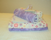 Pink/Purple Multi-Floral on Cream Background and Purple Blanket and Burp Cloth Set
