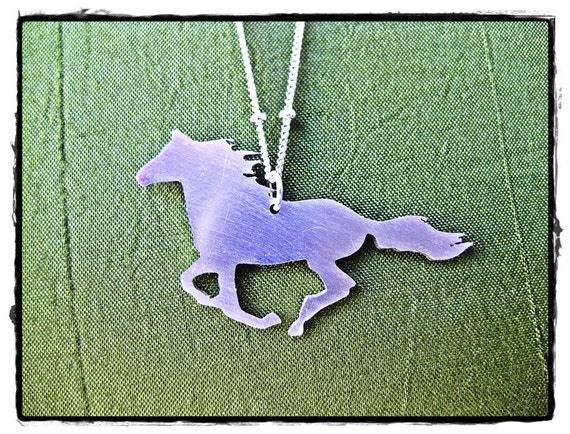 Winnie Necklace - Sterling silver, 16 or 18 inch chain, Horse Charm mustang galloping running pony