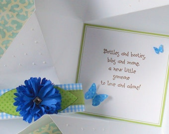BABY boy CONGRATULATIONS Card, folded pinwheel style,  in white, with blue and  green