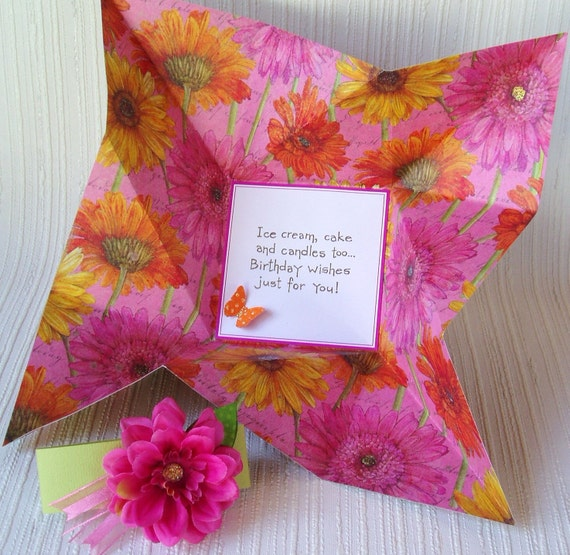 Folded Pinwheel Birthday Card, in pink, yellow and orange with pink flower