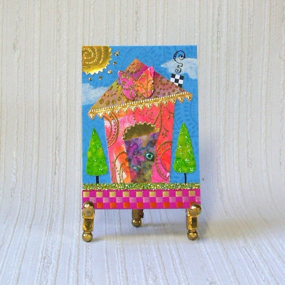 ACEO - Wonky House original collage in pink and orange