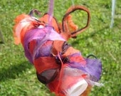 Upcycled Hand Dyed Multicolored Silk Organza Ribbon-  5 yards