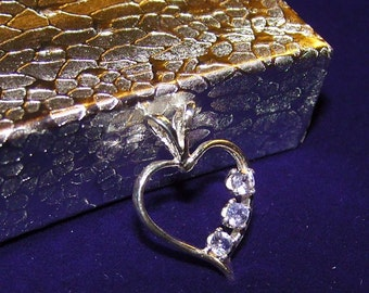 Pale TANZANITE Gemstones in Sterling Silver Heart Pendant