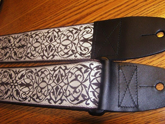 Intricate Brown & Ivory Embroidered Trim GUITAR STRAP