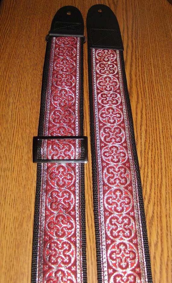 Red,Silver & Black Celtic/Rennaisance/Vestment Embellished GUITAR STRAP