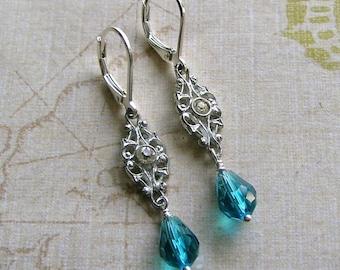 Vintage Rhinestone Connector Assemblage Earrings With Swarvoski Crystal Drops