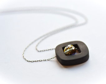 Black Hole - Stone and Crystal Modern Simple Geometric Sterling Necklace