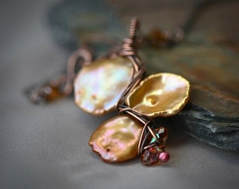 Copper Wrapped Champaigne Keishi Pearls Necklace