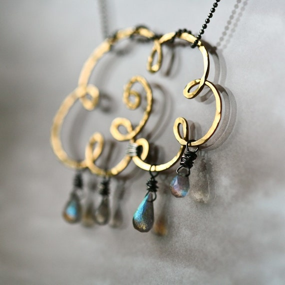 Gold Cloud - Gold Filled Wire and Labradorite Teardrops Pendant