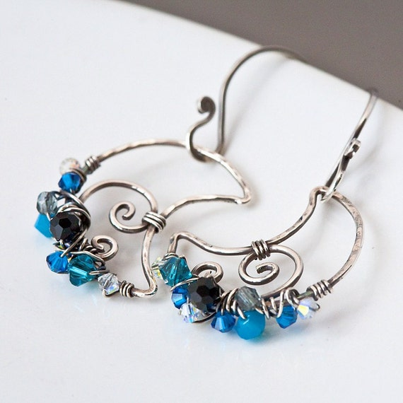 Night Sky Blue Moon - Wire and Blue and Black Crystal Wrapped Sterling Silver Earrings