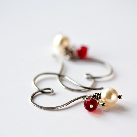 Heart Hoops with Pearl and Crystals Sterling Silver Earrings Valentine Day Gift