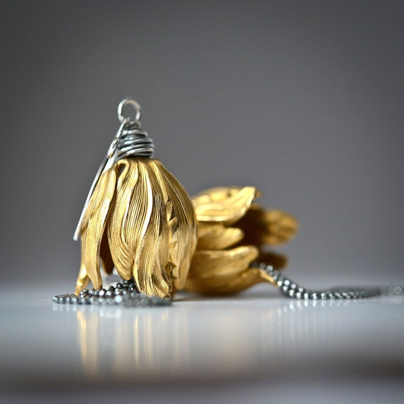 Brass Tulip Tassels - Mixed Metal Sterling Silver Wire Wrapped Earrings