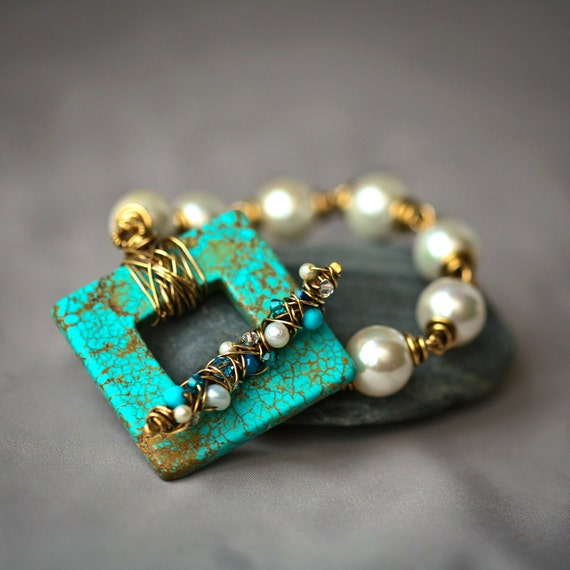 Turquoise Square and Pearls Antiqued Brass Wire Wrapped Bracelet