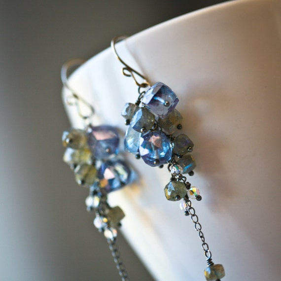 Frosty Boxing Day - Mystic Quartz and Labradorite Faceted Cubes Antiqued Sterling Silver Cascading Dangle Earrings