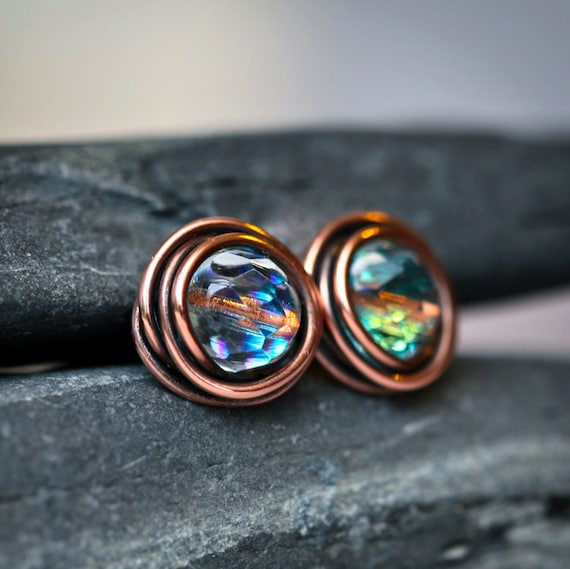 AB Crystal Copper Wire Wrapped Rustic Stud Earrings