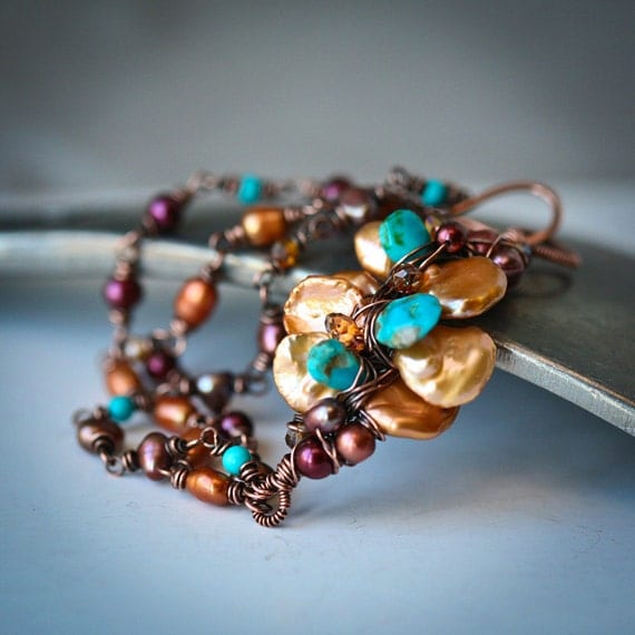 Copper Wrapped Keishi and Freshwater Pearls and Arizona Turquoise Bracelet