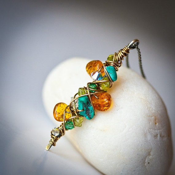 Free Form Mixed Metal & Gemstones Wire Wrapped Pendant in Amber and Turquoise