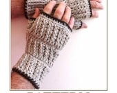 Fingerless Mittens COUNTRY Crochet PATTERN for men, man mitts,  Instant pdf download
