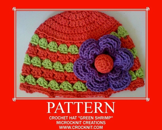 GREEN SHRIMP Crochet Hat PATTERN Baby Newborn Beanie flower motif  Instant pdf download
